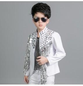 White silver lens sequins fringes fashion boys kids children baby competition drummer performance hip hop jazz dancing jackets coats