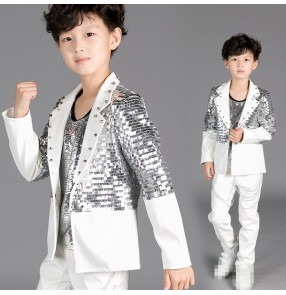 White silver patchwork long sleeves boys kid children baby fashion jazz singer drummer performance ds hip hop dance coats blazers