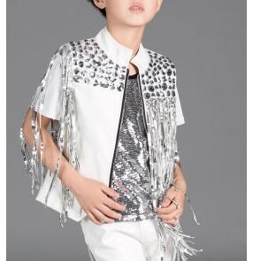White silver sequins fringes tassels rhinestones boys kids children modern dance fashion jazz hip hop drummer dancing jackets tops