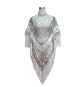 White silver sequins glitter striped paillette loose fashion women's girls see through singers performance jazz dancers outfits cloak tops dresses