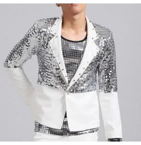 White silver sequins paillette patchwork long sleeves men's male fashion competition jazz singer night club bar dancers punk dj dancing blazers coats