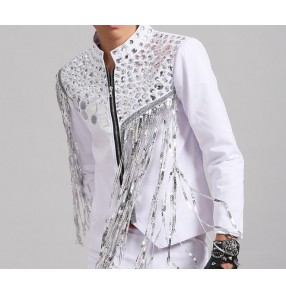 White silver sequins patchwork fringes glitter men's male punk dj lens night club jazz singer dancers dancing jackets coats tops
