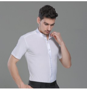 White stand collar short sleeves men's male competition latin salsa ballroom dance tops shirts