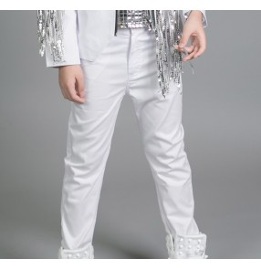 White straight length boys kids children baby fashion modern dance school competition drummer jazz singer hip hopdance pants