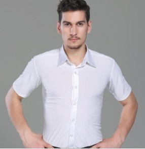 White turn down collar men's male short sleeves competition practice latin ballroom tango waltz dance shirts tops