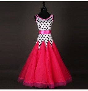 White with black polka dot  fuchsia skirt long length girls women's competition ballroom waltz dance dresses