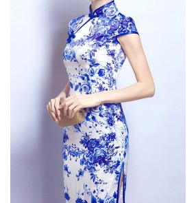 White with blue floral printed side split sexy Chinese style women's wedding evening party cocktail cheongsam dresses vestidos