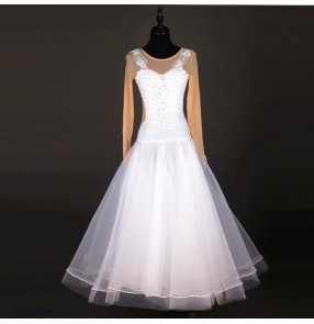 White with flesh fabric long sleeves rhinestones competition fashion women's ballroom tango dance dresses