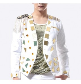 White with gold lens sequins men's male competition performance jazz singer dj pole punk dancing jacket blazers coats