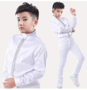 White with silver sequins in shirt opening fashion boys kids children competition performance jazz hip hop dancers singers dancing shirts tops