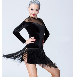 wholesale Black velvet mesh patchwork long sleeves fashion women's ladies female fringes competition professional latin ballroom cha cha dance leotard dresses outfits