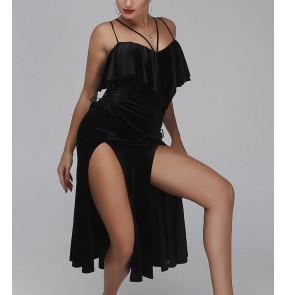 Wholesale Black velvet side split strap sexy fashion women's ladies professional competition latin cha cha dance long length dresses outfits