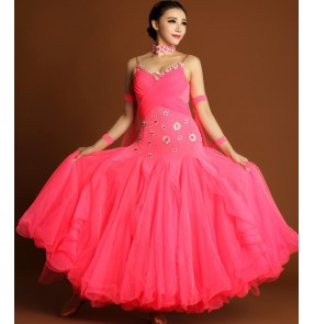 wholesale Coral rhinestones embroidery pattern backless competition women's ladies female professional ballroom tango waltz dancing big skirted dresses outfits