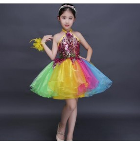 Wholesale rainbow colored sequins paillette flower girls wedding  cos play party piano stage performance modern jazz singer dancing dresses outfits costumes