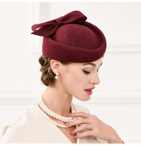 Wine red colored 100% Australian wool women's ladies pillbox vintage wedding party event cocktail banquet performance hats headwear fedoras