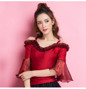 Wine red colored dew shoulder flare sleeves trimmed agaric laces neck fashion competition ballroom latin dance tops