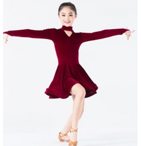Wine red royal blue black fuchsia hot pink long sleeves velvet competition gymnastics girls kids children latin ballroom dance dresses
