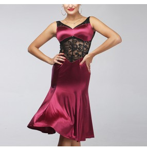 Wine red velvet shiny black lace patchwork backless sexy fashion v neck long length women's competition performance latin salsa cha cha dance dresses outfits