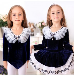 Wined red navy blue pink velvet long sleeves leotards girls kids children princess tutu skirt competition skating swan lake ballet dance dresses outfits