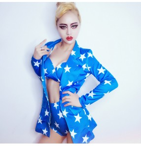 Women's blue striped printed jazz dance costume two pieces top pants blazer shorts