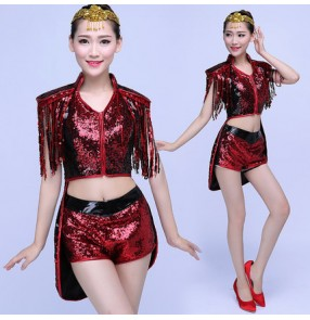 Women's Sequins ds dj jazz  singer dance costume top and shorts two piece outfits