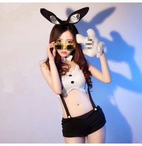 Women's white and black patchwork rabbit jazz dance singer dance costumes
