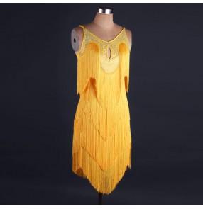 Yellow fringes rhinestones competition professional women's girls ladies latin salsa cha cha dance dresses costumes
