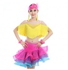 Yellow fringes tassels rhinestones competition girls kids children latin salsa ballroom dance dresses outfits