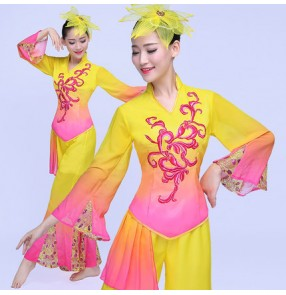 Yellow fuchsia hot pink gradient colored women's ladies Chinese folk fairy yangko fan dance traditional dance costumes clothes