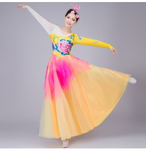Yellow fuchsia patchwork long sleeves flowers women's ladies modern dance flamenco opening party chorus singer dancing dresses outfits
