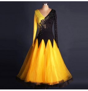 Yellow gold black patchwork long sleeves long length big skirted rhinestones competition women's ladies ballroom tango waltz dance dresses costumes