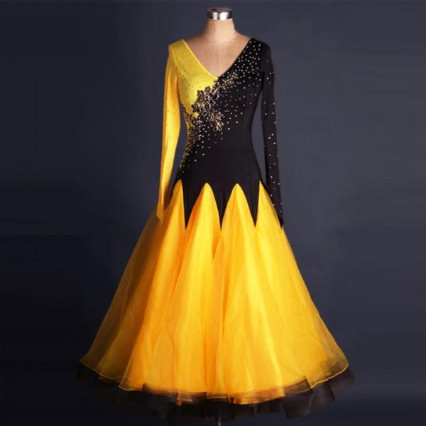 adattabile sette e mezza Clan  Yellow gold black patchwork long sleeves long length big skirted  rhinestones competition women's ladies ballroom tango waltz dance dresses  costumes
