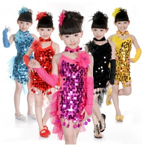 Yellow gold fuchsia hot pink turquoise red black girls kids children baby competition sequins coins paillette tuxedo latin salsa dance dresses outfits