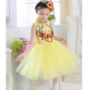 Yellow gold girls kids children phoenix princess stage performance singer chorus cos play modern dance dresses outfits