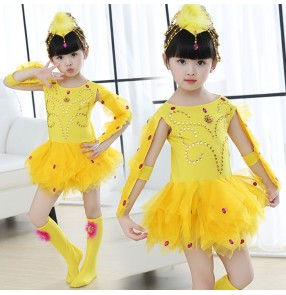 Yellow gold girls kids children school play  fancy chicken modern dance cos play party stage performance dancing dresses outfits