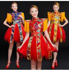 Yellow gold royal blue red dragon embroidery pattern fringes stage performance women's ladies female drummer playing cos play Chinese style yangko folk dancing dresses outfits