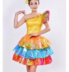 Yellow gold sequins paillette asymmetrical rainbow colored women's ladies modern dance jazz singer hip hop cosplay night club bar dancing dresses