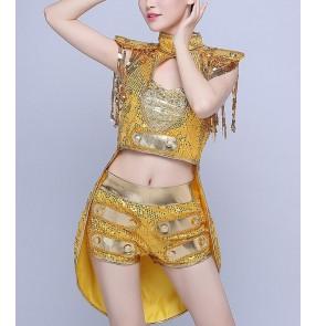 Yellow gold sequins paillette women's girls fashion modern dance ds dj jazz singer night club hip hop bar dance outfits tuxedo costumes