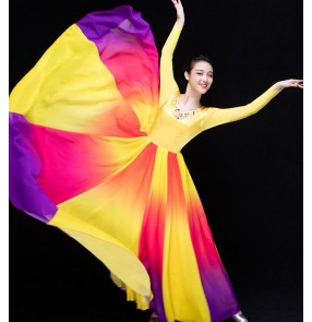 Yellow gold violet patchwork gradient colored v neck long sleeves competition stage performance Spanish flamenco modern big skirted dancing dresses outfits