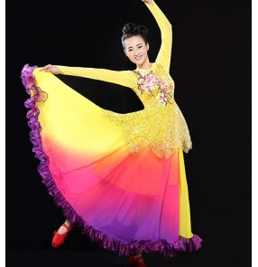 Yellow gold violet sequins women's ladies female long sleeves stage performance opening dancing flamenco singer dance big skirted dresses outfits