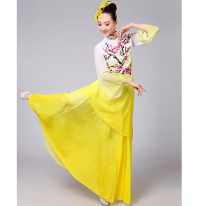Yellow gradient colored women's girls chinese folk fan dance yangko performance competition traditional fairy dancing dresses outfits