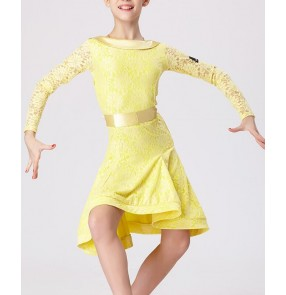 Yellow lace long sleeves girls kids children school competition performance latin salsa cha cha dance dresses outfits