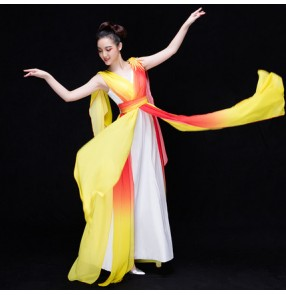 Yellow orange colored gradient colored women's ladies female competition traditional ancient cos play singers dancing evening party performance dancing dresses