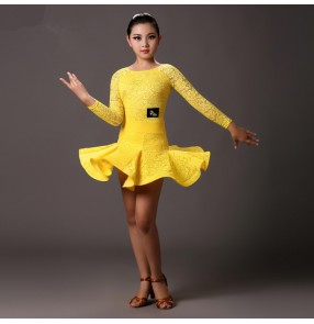 Yellow turquoise blue light pink lace long sleeves girls kids children competition stage performance latin ballroom dancing leotards dresses outfits