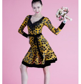 Yellow with black velvet flowers floral long sleeves v neck women's girls performance competition latin salsa cha cha dance dresses costumes