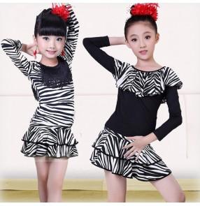 Zebra printed black patchwork short sleeves girls kids children performance gymnastics professional competition latin salsa cha cha school play  dance dresses outfits