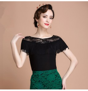 Black colored women's ladies female round neck see through sleeves neckline ruffles competition professional tango waltz latin ballroom dance tops only