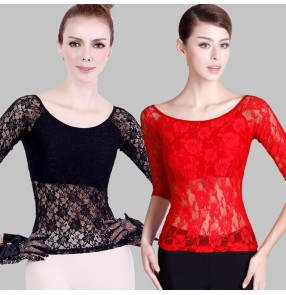 Black lace hollow long  sleeves back women's ladies female competition stage performance professional ballroom tango waltz dance tops blouses