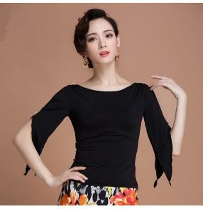 Black gold lace patchwork flare long sleeves competition women's adult ladies latin ballroom dance tops blouses shirts