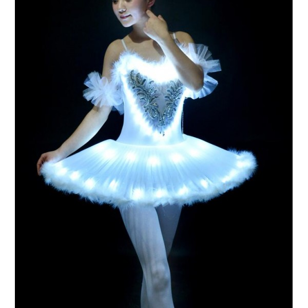 a84da2837 White women's ladies professional competition swan lake led glitter stage  performance tutu skirt ballet dance dresses costumes